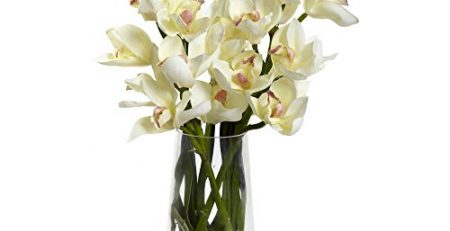 silk orchid with vase