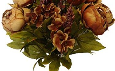 silk brown peonies