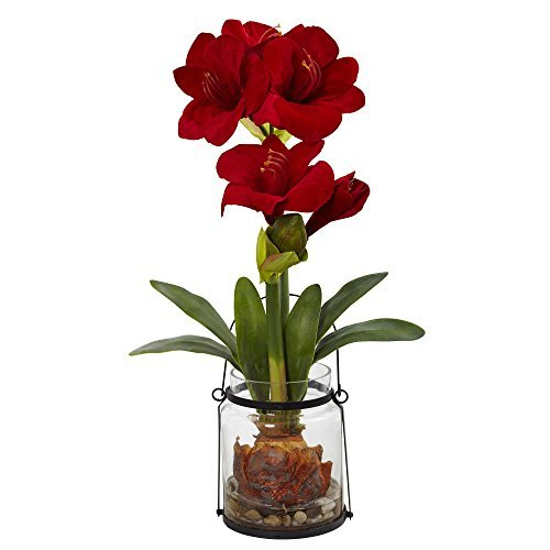 Nearly Natural Amaryllis with Vase Floral Decor, 24″, Red Read more: https://www.silkyflowerstore.com/product/nearly-natural-amaryllis with vase floral decor 24 red