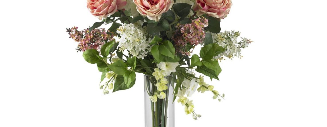 Nearly Natural 1220-PK Rose/Delphinium and Lilac Silk Flower Arrangement