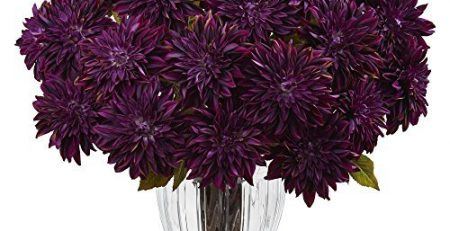 Nearly Natural 1419-PP Silk Dahlia Floral Arrangement