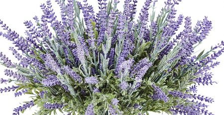TEMCHY Artificial Lavender Plant with Silk Flowers Bouquet for Wedding Decor