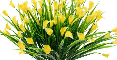 BAKAA Artificial Flowers Outdoor Yellow Calla Lily Fake Plants Faux Shrubs