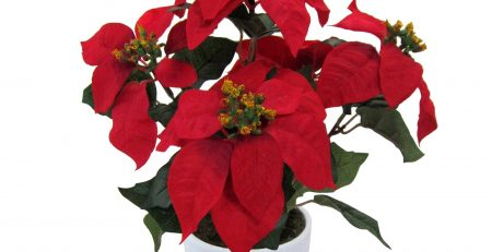 Deutschmade Artificial Flower Red Poinsettia Including White Ceramic Vase
