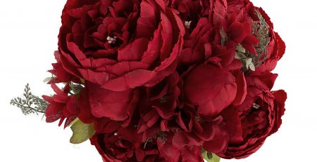 ZFLOWERY 1 Pack Artificial Peony Silk Flowers Arrangement Bouquet