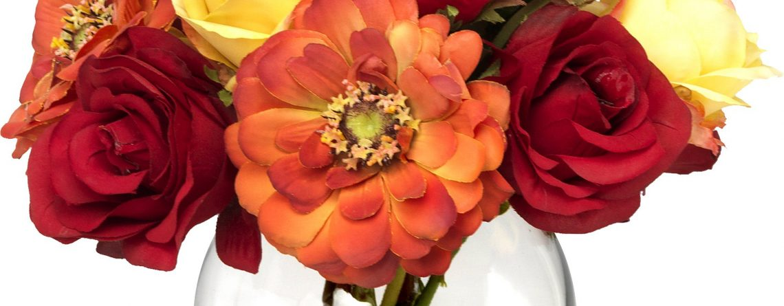 BLOOMS by Diane James Faux Zinnia and Rose Bouquet in Glass Vase