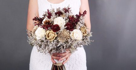 Bridal Bouquet Ivory Brown Burgundy Gold Pine Cone Sola Flowers Rustic