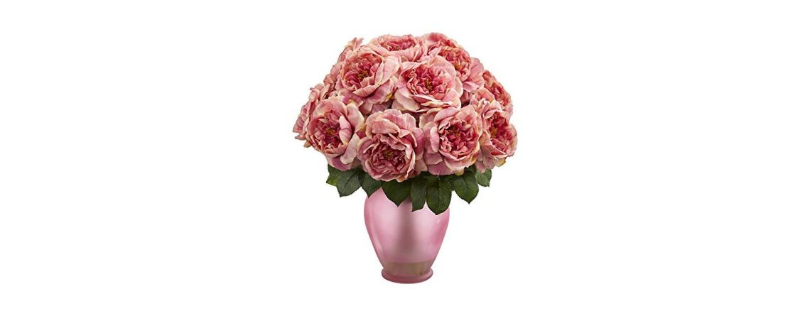 Nearly Natural Artificial Rose Colored Vase Silk Arrangements