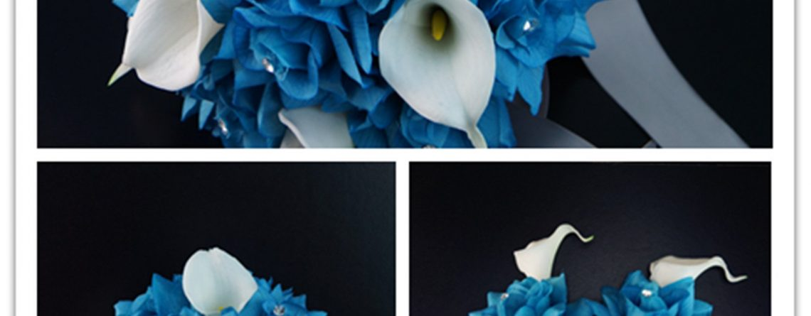 17pc Wedding Bouquets Flower Package Turquoise White Real Touch Calla Lily Rose Bouquet