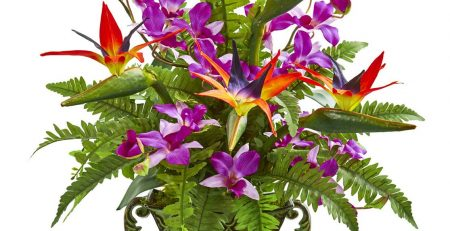 Bird of Paradise Orchid and Fern Arrangement with Metal Planter Artificial Flowers 2