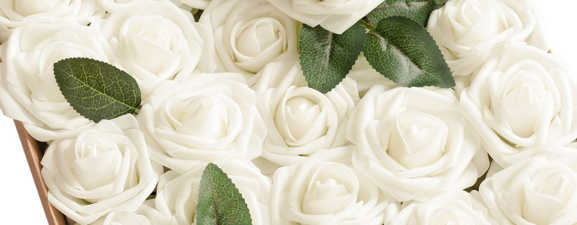 Ling's moment Artificial Flowers Ivory Roses 50pcs
