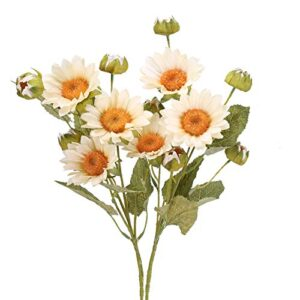 ailanda bunches artificial sunflower flowers inches long greenery stems silk sunflower bouquets white fake floral arrangement for home valentines day decor wedding greenery centerpieces