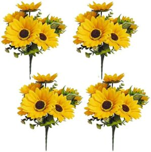artificial sunflower bouquet inch fake sunflowers silk sunflowers yellow flowers for home office parties wedding decoration