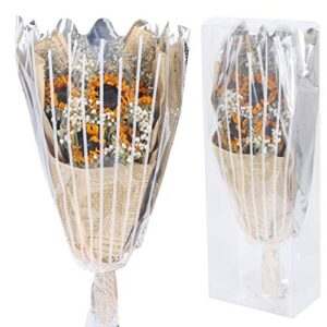 huaesin dried flower bouquet natural dried sunflowers babys breath lovers grass flowers with transparent gift box for home vase wedding table decor yellow