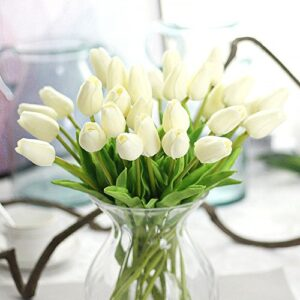 happy e life pcs beautiful pu artificial tulip flowers with leaves for wedding bouquet decoration ivory