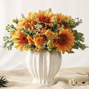 jareling artificial sunflowers flowers in vase fake silk flowers arrangement with vase table centerpieces for home decoration orange