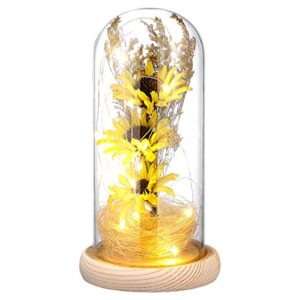 mobestech enchanted flower lamp artificial sunflower in glass dome led flower lamp for valentines day mothers day pcs yellow
