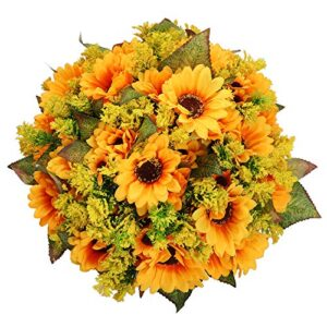 momkids pack sunflowers artificial flowers fake yellow silk sunflower bouquet for home kitchen bathroom garland wedding birthday party decorations