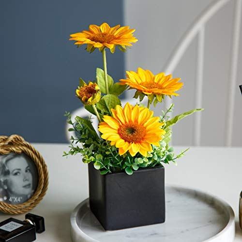 naweida artificial sunflowers with ceramic vases fake flower arrangements decorations for home kitchen or office