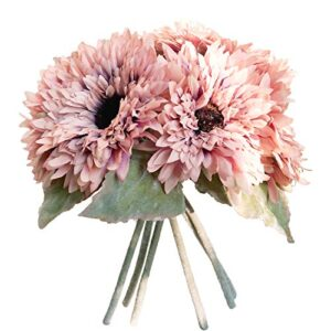 nearly nature sunflower bouquet heads artificial flower home and wedding floral decoration pink