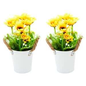 okuna outpost artificial potted flowers fake sunflower home decorations in pack