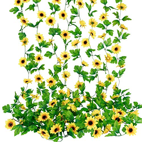 wholine pcs ft artificial sunflower garlands faux silk sunflower vines with green leaves for wedding table home birthday party decor