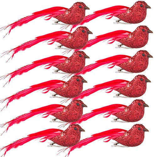 12pcs artificial red cardinal with clip 5 clip on cardinal bird ornament with feather shiny cardinal centerpieces wreath flower arrangement supplies for diy crafts xmas tree topper party decorred 0