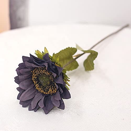 Guhao 7pcs Vintage Sunflowers Artificial Flowers Faux Silk Sunflowers Bouquet Fake Real Touch Flower for Wedding Party Decor Fake SunflowersPurple 0
