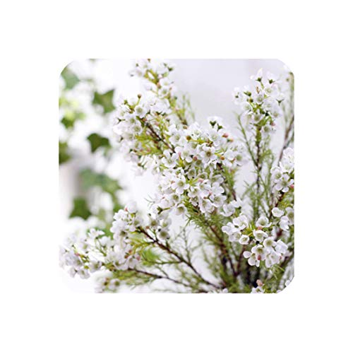 perfect display 1pc 3branchesbunch geraldton wax flowers artificial winter sweet home party wedding decoration flowerswhiteover length 83cm 0