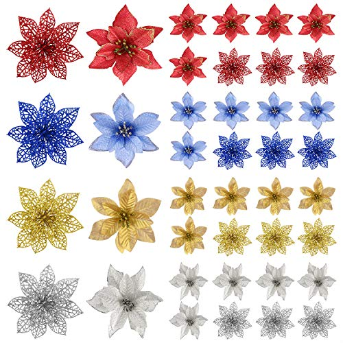 tuparka 32 pack christmas poinsettia glitter artificial christmas flowers for christmas tree ornaments xmas christmas wreaths garland decorations holiday seasonal decoration 4 colors 0