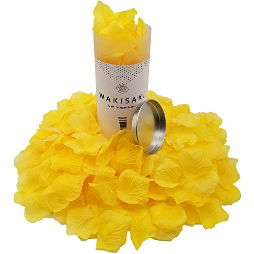 wakisaki separated pleasant smelling artificial fake rose petals for romantic night wedding event party decoration in bulk 1000 count royal yellow 0