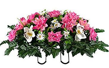 Grave Saddle Silk Flower Arrangements