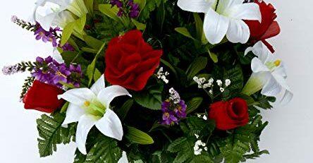 Memorial Flower Vase Silk Flower Arrangements